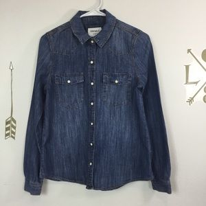 FOREVER 21 DENIM SNAP FRONT SHIRT